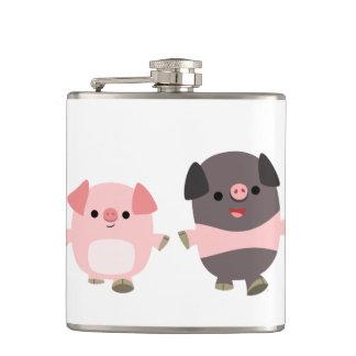 Cute Cartoon Pigs On a Walk Hip Flask