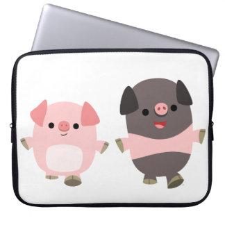 Cute Cartoon Pigs On a Walk Laptop Sleeve