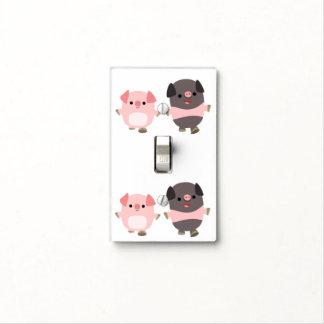 Cute Cartoon Pigs On a Walk Light Switch Cover