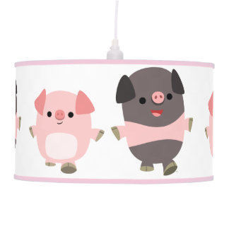 Cute Cartoon Pigs On a Walk Pendant Lamp