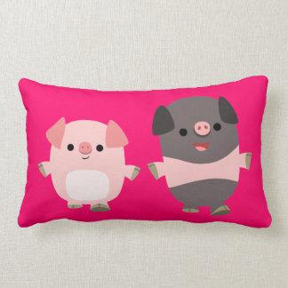 Cute Cartoon Pigs On a Walk Pillow