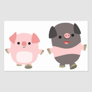 Cute Cartoon Pigs On a Walk Sticker