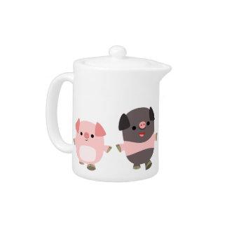 Cute Cartoon Pigs On a Walk Teapot