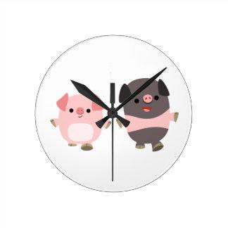 Cute Cartoon Pigs On a Walk Wall Clock