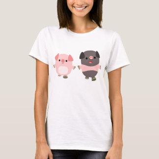 Cute Cartoon Pigs On a Walk Women T-Shirt