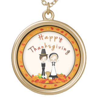 Cute Cartoon Pilgrims Happy Thanksgiving Gold Plated Necklace