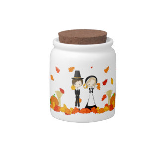 Cute Cartoon Pilgrims Thanksgiving Harvest Candy Dishes