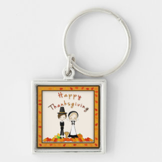 Cute Cartoon Pilgrims Thanksgiving Harvest Silver-Colored Square Keychain