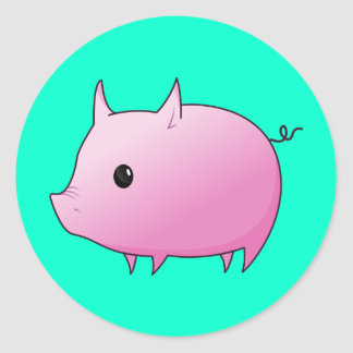 Cute Cartoon Pink Pig Classic Round Sticker