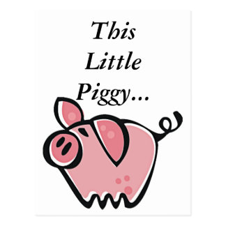 Cute Cartoon Pink Pig Postcard