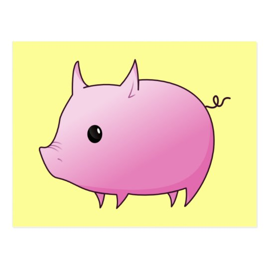 Cute Cartoon Pink Pig Postcard