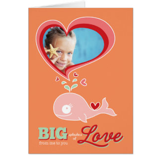 Cute Cartoon Pink Whale Kid Valentine Photo Card