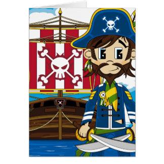 Cute Cartoon Pirate and Ship Greeting Card
