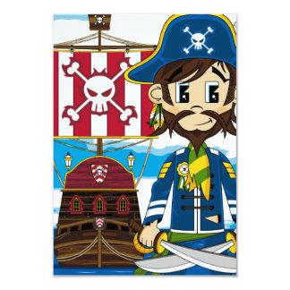 Cute Cartoon Pirate and Ship Invitation