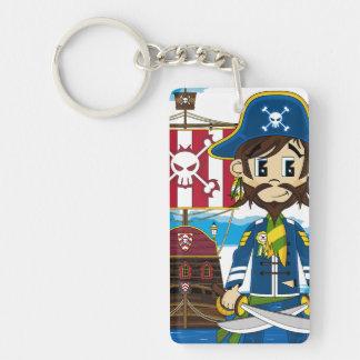 Cute Cartoon Pirate and Ship Keychain