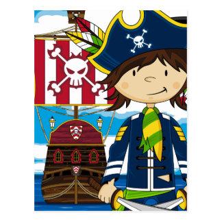 Cute Cartoon Pirate and Ship Postcard