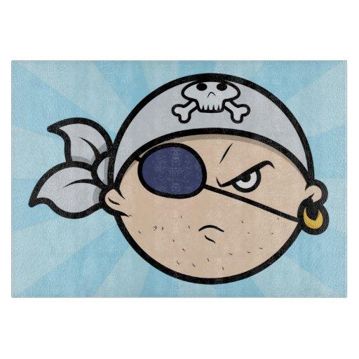 Cute Cartoon Pirate Face Cutting Board Zazzle