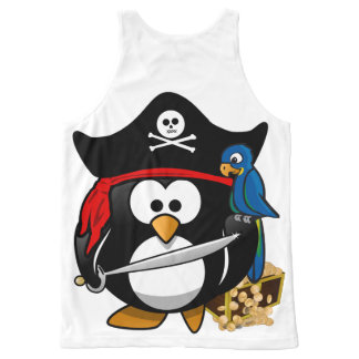 Cute Cartoon Pirate Penguin with Parrot All-Over-Print Tank Top