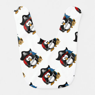 Cute Cartoon Pirate Penguin with Parrot Bib