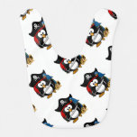 Cute Cartoon Pirate Penguin with Parrot Bibs