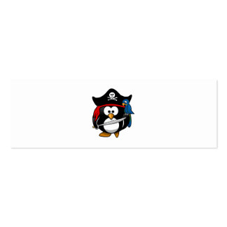 Cute Cartoon Pirate Penguin with Parrot Business Card Template
