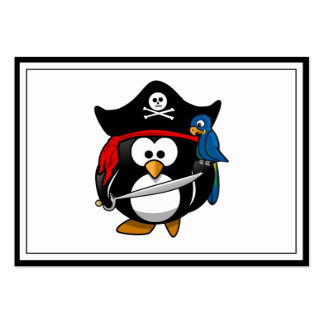 Cute Cartoon Pirate Penguin with Parrot Business Card Templates