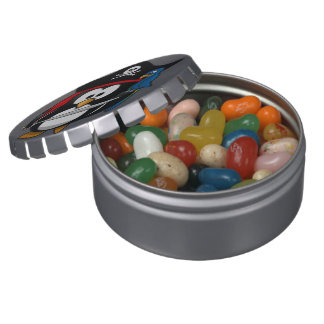 Cute Cartoon Pirate Penguin with Parrot Jelly Belly Candy Tins