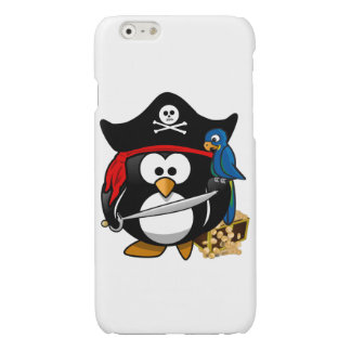 Cute Cartoon Pirate Penguin with Parrot Glossy iPhone 6 Case