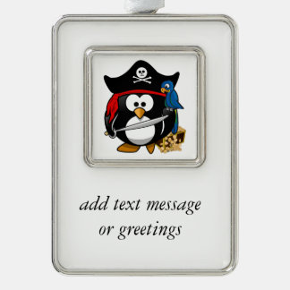 Cute Cartoon Pirate Penguin with Parrot Silver Plated Framed Ornament