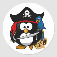 Cute Cartoon Pirate Penguin with Parrot Classic Round Sticker
