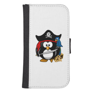 Cute Cartoon Pirate Penguin with Parrot Wallet Phone Case For Samsung Galaxy S4