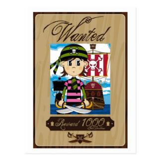 Cute Cartoon Pirate Postcard