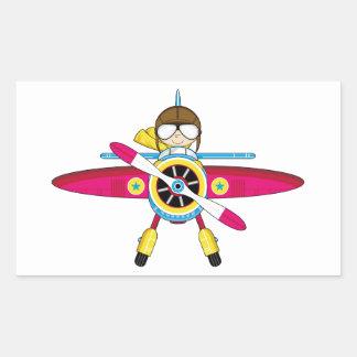 Cute Cartoon Plane and Pilot Rectangular Sticker