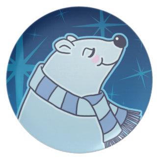 Cute Cartoon Polar Bear Holiday Plate