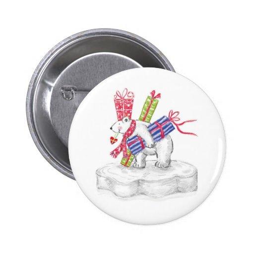Cute Cartoon Polar Bear with Christmas Presents 2 Inch Round Button