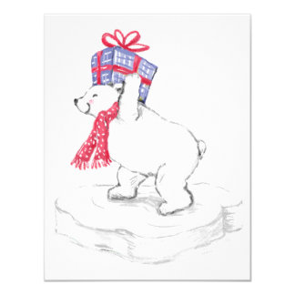 Cute Cartoon Polar Bear with Christmas Presents Card