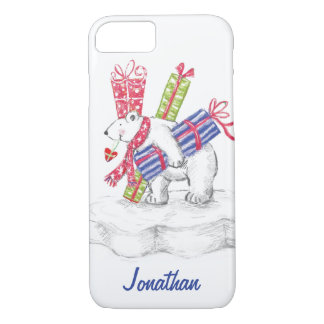 Cute Cartoon Polar Bear with Christmas Presents iPhone 8/7 Case