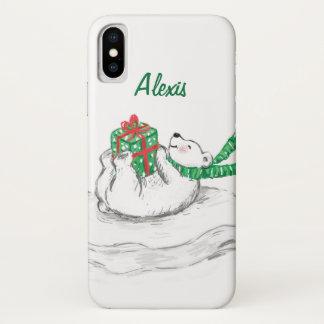 Cute Cartoon Polar Bear with Christmas Presents iPhone X Case