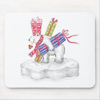 Cute Cartoon Polar Bear with Christmas Presents Mouse Pad