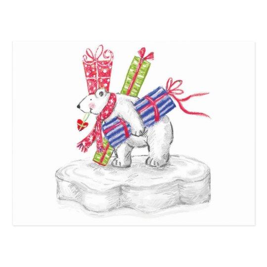Cute Cartoon Polar Bear with Christmas Presents Postcard