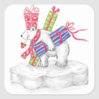 Cute Cartoon Polar Bear with Christmas Presents Square Sticker