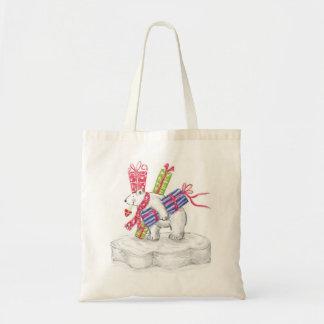 Cute Cartoon Polar Bear with Christmas Presents Tote Bag