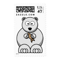 Cute Cartoon Polar Bear with Fish Stamp