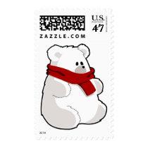 Cute Cartoon Polar Bear with Red Scarf Stamp