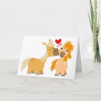 Cute Cartoon Ponies in Love greeting card
