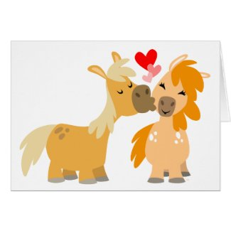 Cute Cartoon Ponies in Love greeting card