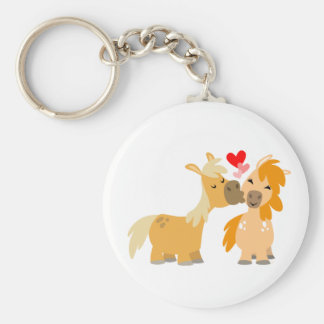 Cute Cartoon Ponies in Love Keychain
