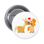Cute Cartoon Ponies in Love Pinback Button