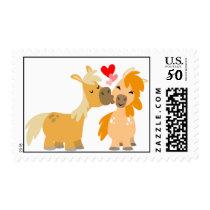 Cute Cartoon Ponies in Love Postage stamp