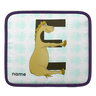 Cute Cartoon Pony Monogram E iPad Sleeve